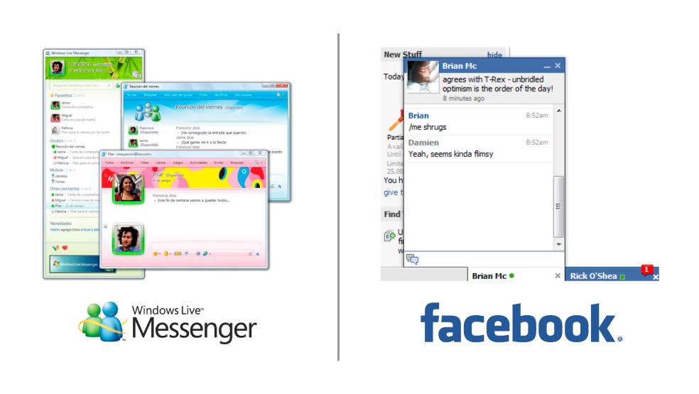 MSN Messenger contro Facebook - Le due chat a confronto