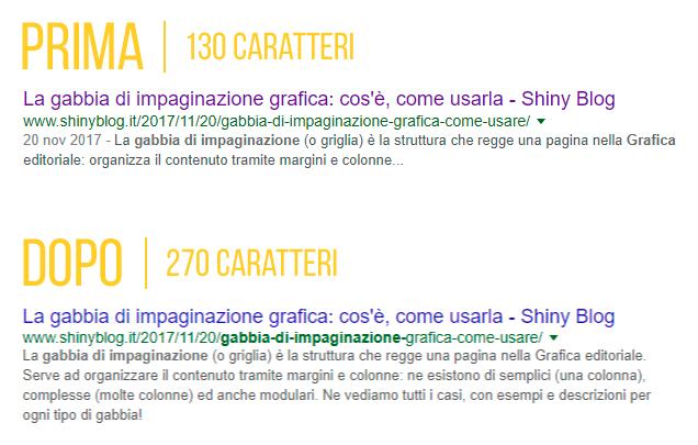 Lo Snippet su Google diventa più lungo: differenza tra la Meta Description prima (130 caratteri) e dopo (270 caratteri).