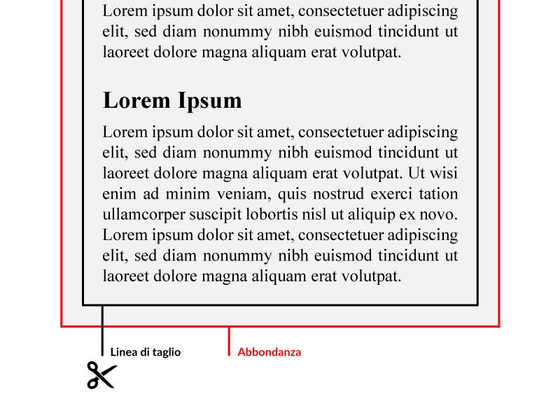 Abbondanza per la stampa in tipografia - Esempio e Adobe Illustrator