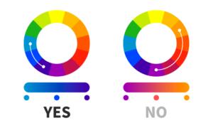 Gradiente di colore - Esempi di tonalità vicine e lontane sulla ruota