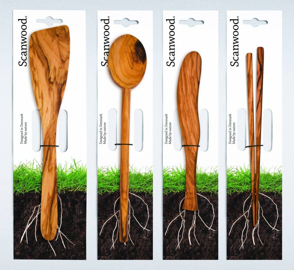 Packaging ecologico Scanwood per utensili da cucina