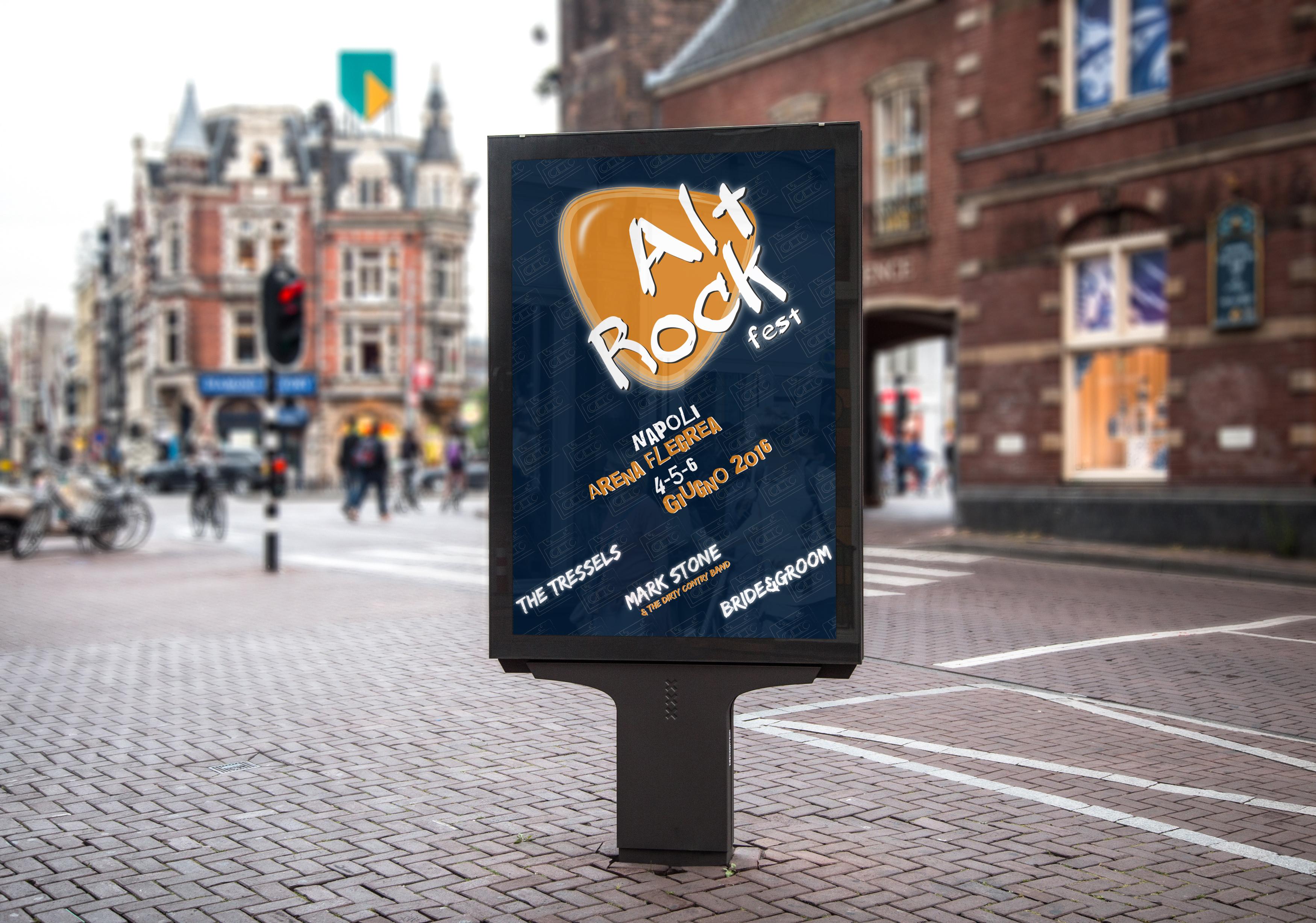 Manifesto Portfolio - Festival di musica Alt Rock - Mockup ambiente