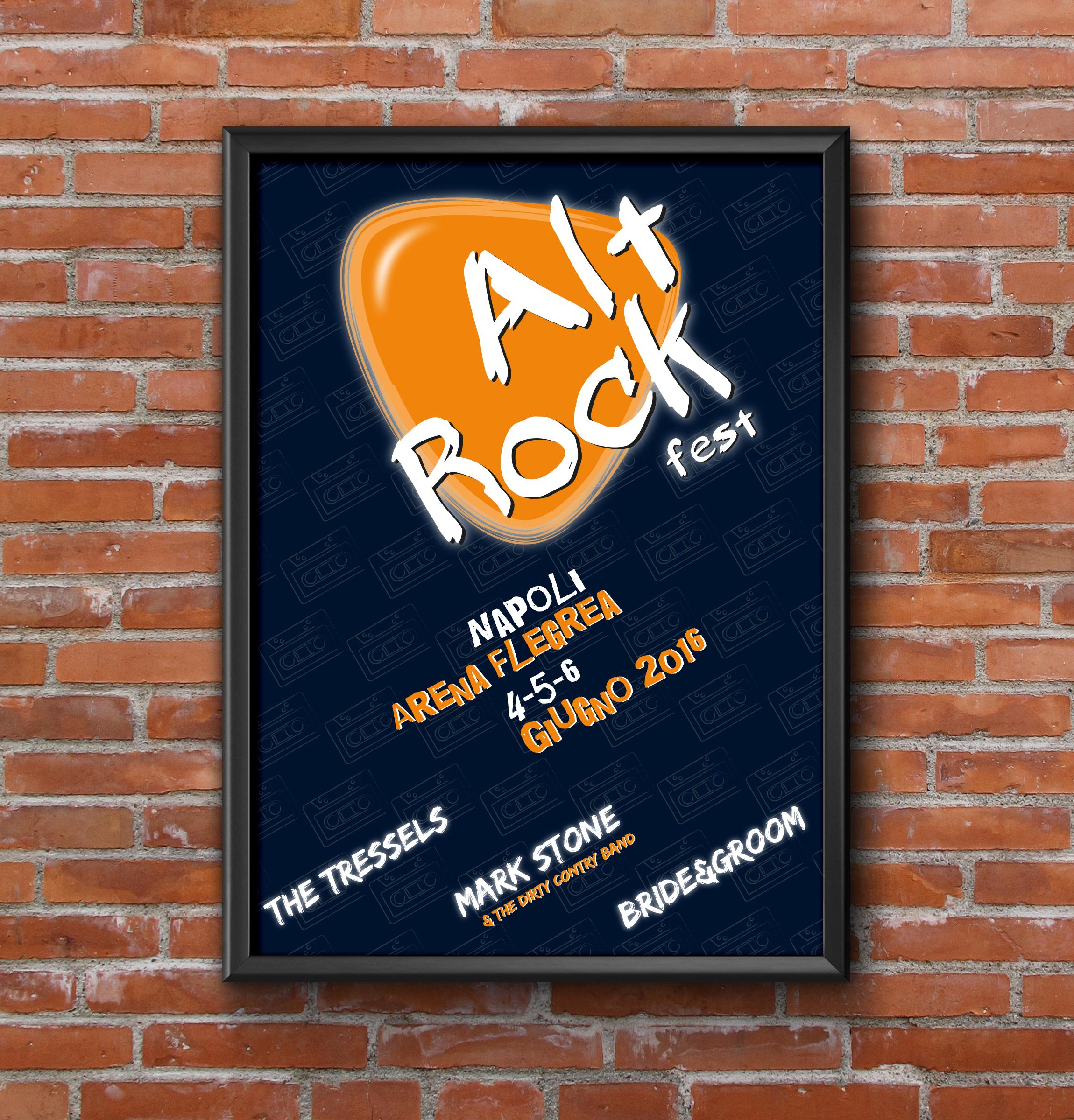 Manifesto Portfolio - Festival di musica Alt Rock - Mockup fronte