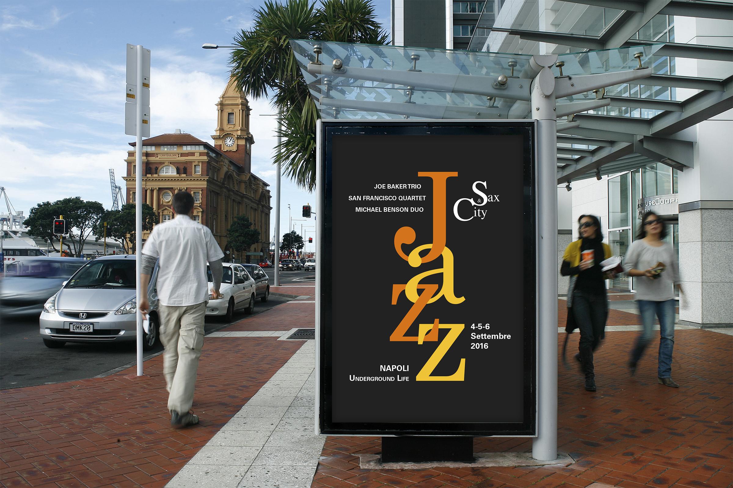 Manifesto Portfolio - Festival di musica Jazz - Ambientato esterno