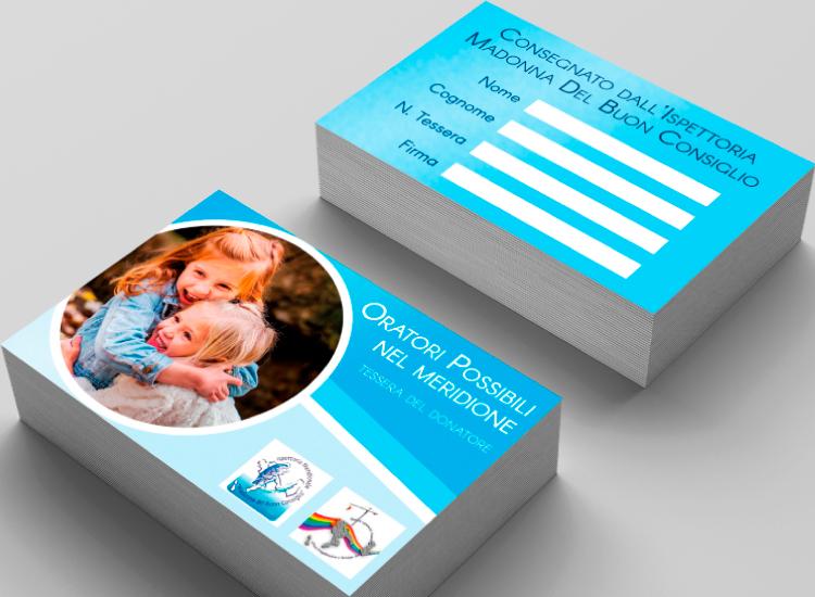 Oratori Possibili nel Meridione - Grafica e Copywriting per volantini e tessere donatori
