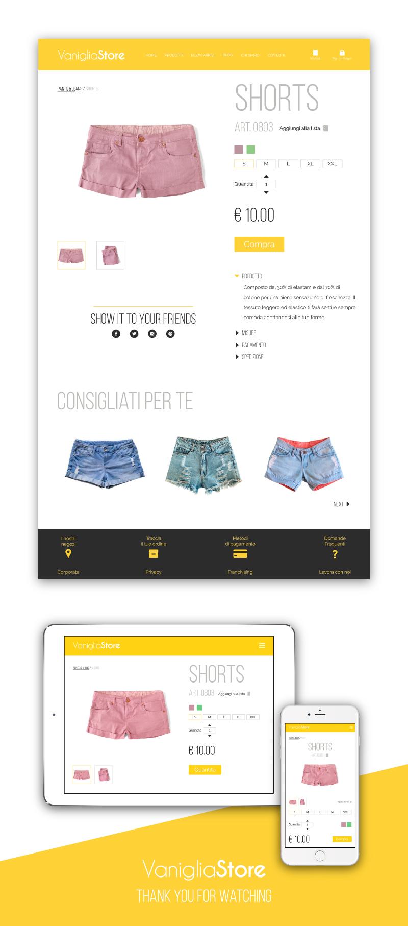 Sito web Portfolio - Abbigliamento femminile - Pagina prodotto