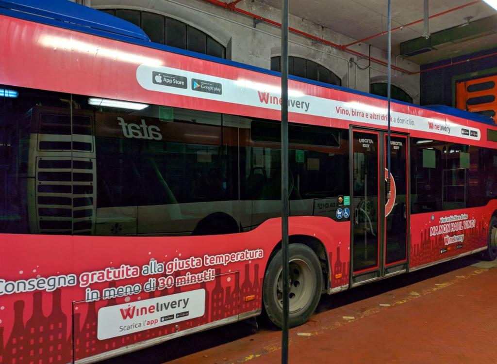 Winelivery - Grafica autobus Milano e Firenze - Laterale larga