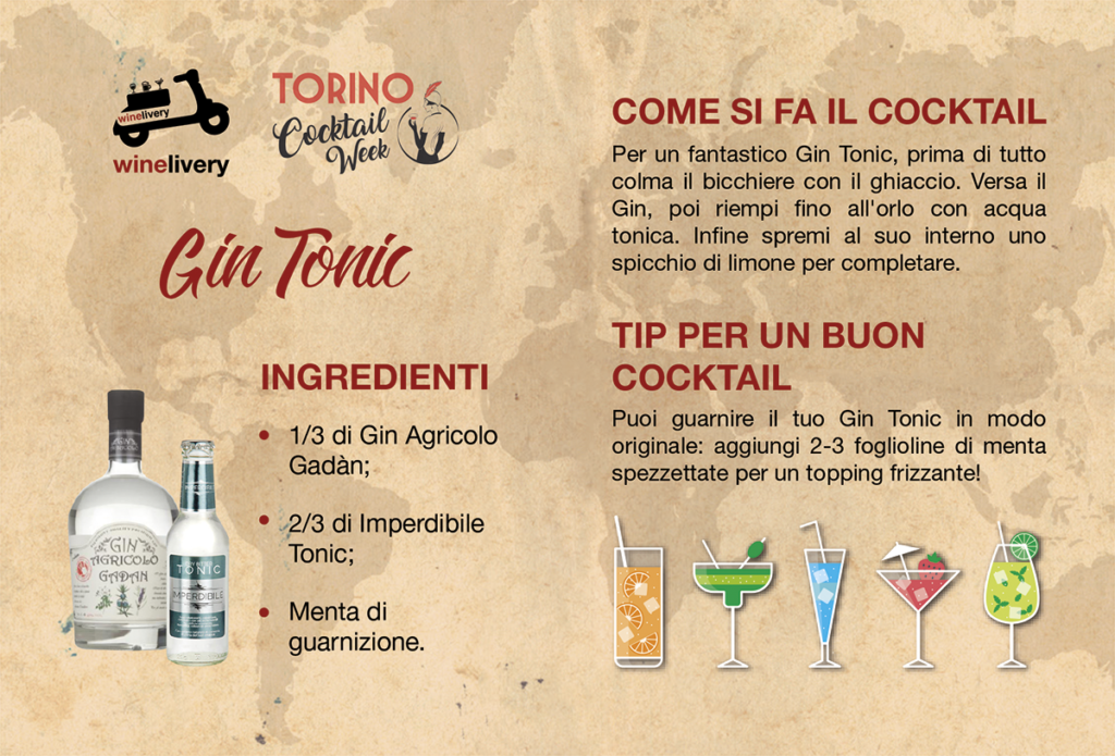 Winelivery Torino Cocktail Week - Flyer con testi Gin Tonic