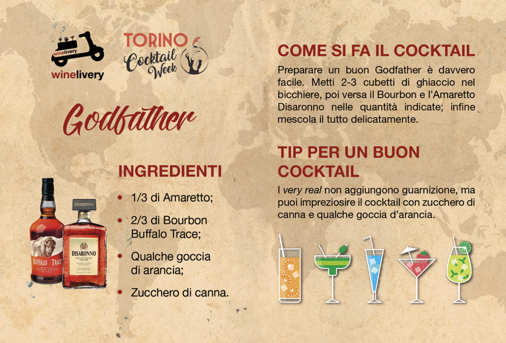 Winelivery Torino Cocktail Week - Flyer con testi Godfather