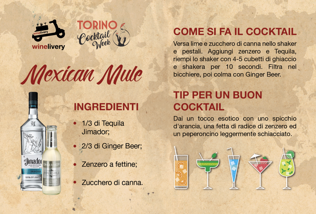 Winelivery Torino Cocktail Week - Flyer con testi Mexican Mule