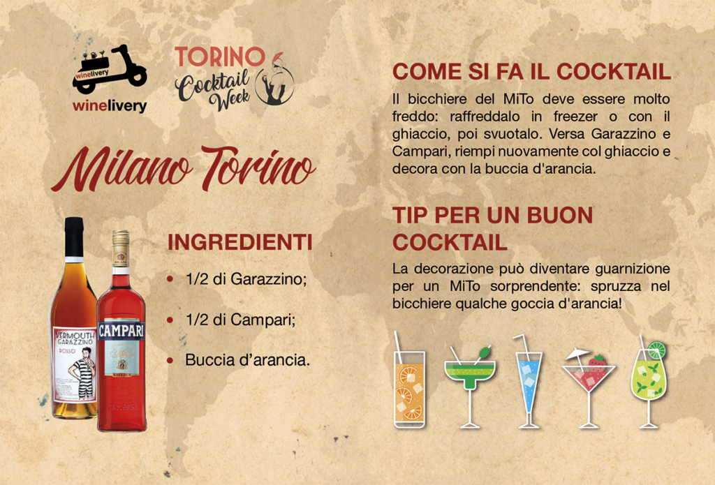 Winelivery Torino Cocktail Week - Flyer con testi Milano Torino