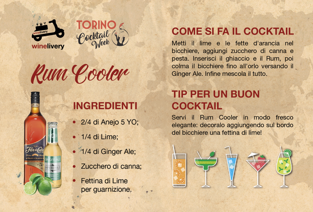 Winelivery Torino Cocktail Week - Flyer con testi Rum Cooler