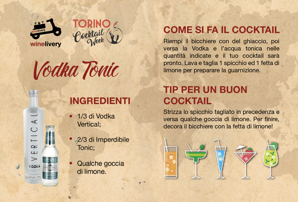 Winelivery Torino Cocktail Week - Flyer con testi Vodka Tonic