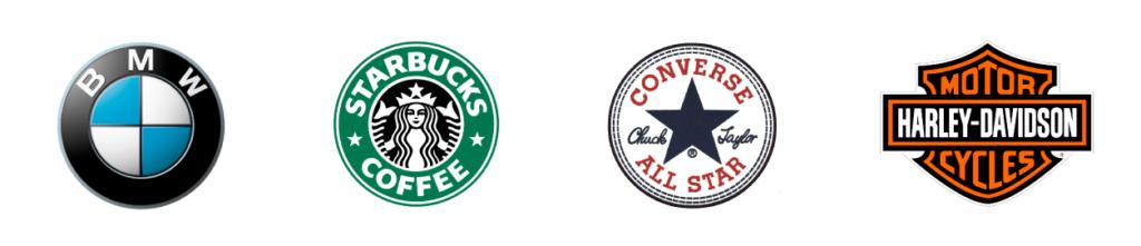 Tipologie di logo - Esempi di loghi Emblema: logo BMW, logo Starbucks, logo Converse All Star, logo Harley-Davidson