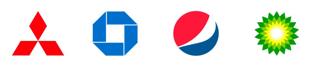 Tipologie di logo - Esempi di loghi astratti: logo Mistubishi, logo Chase Bank, logo Pepsi, logo BP British Petroleum