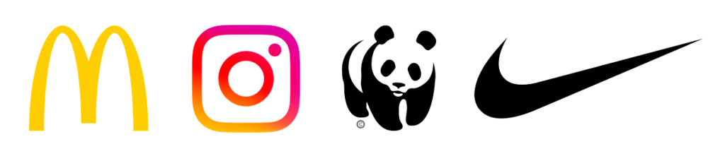 Tipologie di logo - Esempi di loghi Pittogramma: logo MC Donald's, logo Instagram, logo WWF, logo Nike