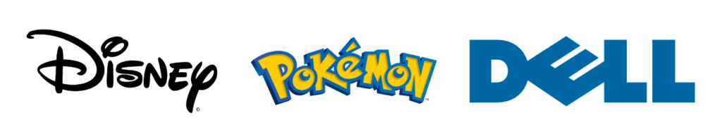 Tipologie di logo - Esempi di loghi Wordmark: logo Disney, logo PlayStation, logo Dell