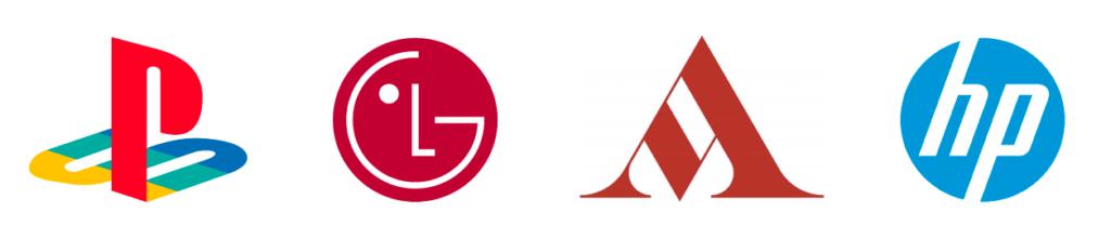 Tipologie di logo - Esempi di loghi Lettermark: logo Playstation, logo LG, logo Mondadori, logo HP