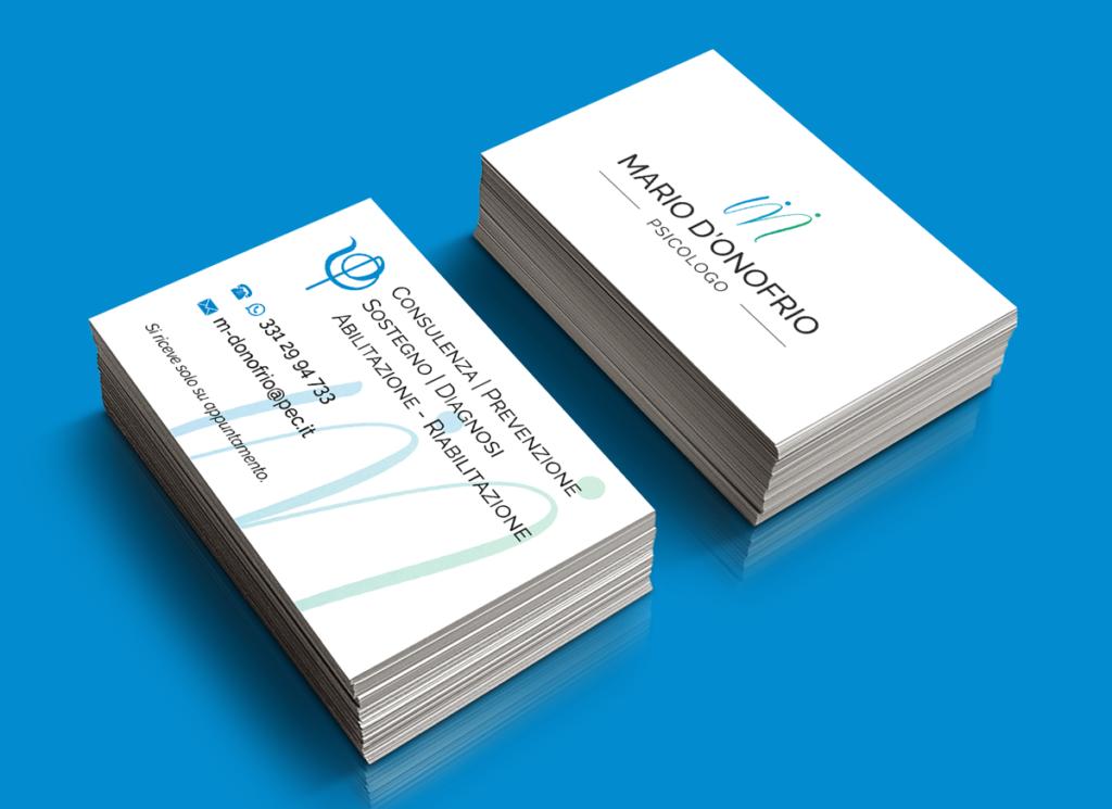 Logo e biglietto da visita psicologo Mario d'Onofrio - Fronte e retro