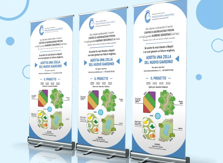 Progetto Prisma e Giardino Sensoriale a Napoli - Roll up banner avvolgibile - Istituto San Giovanni Bosco delle Figlie di Maria Ausiliatrice