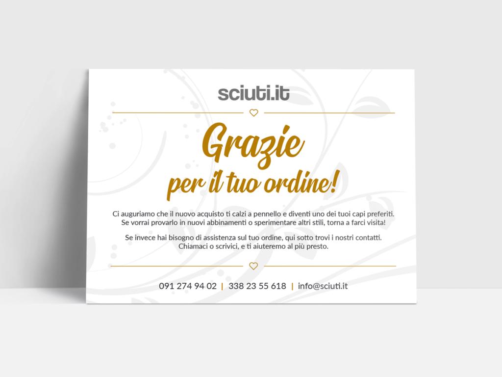 Sciuti - Biglietto di ringraziamento A6 per l'ordine su e-commerce - Frontale