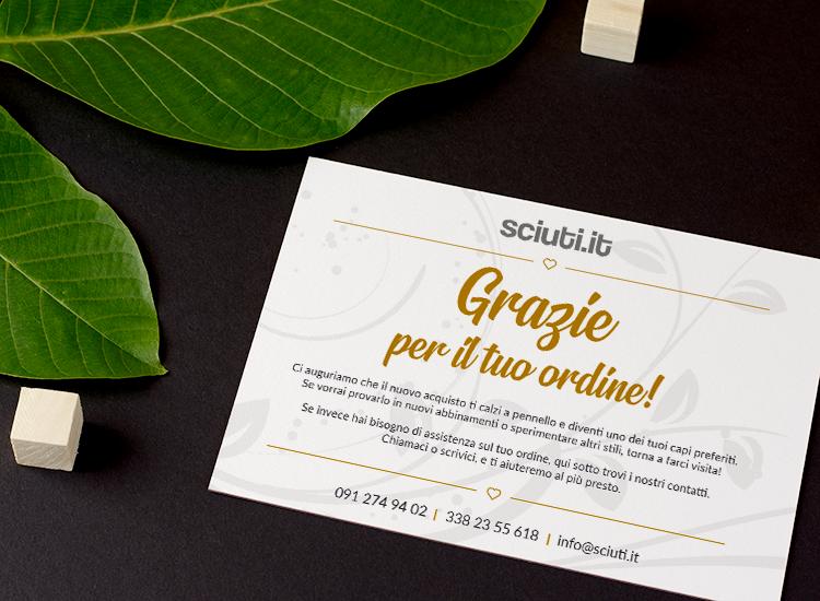 Sciuti - Biglietto di ringraziamento A6 per l'ordine su e-commerce