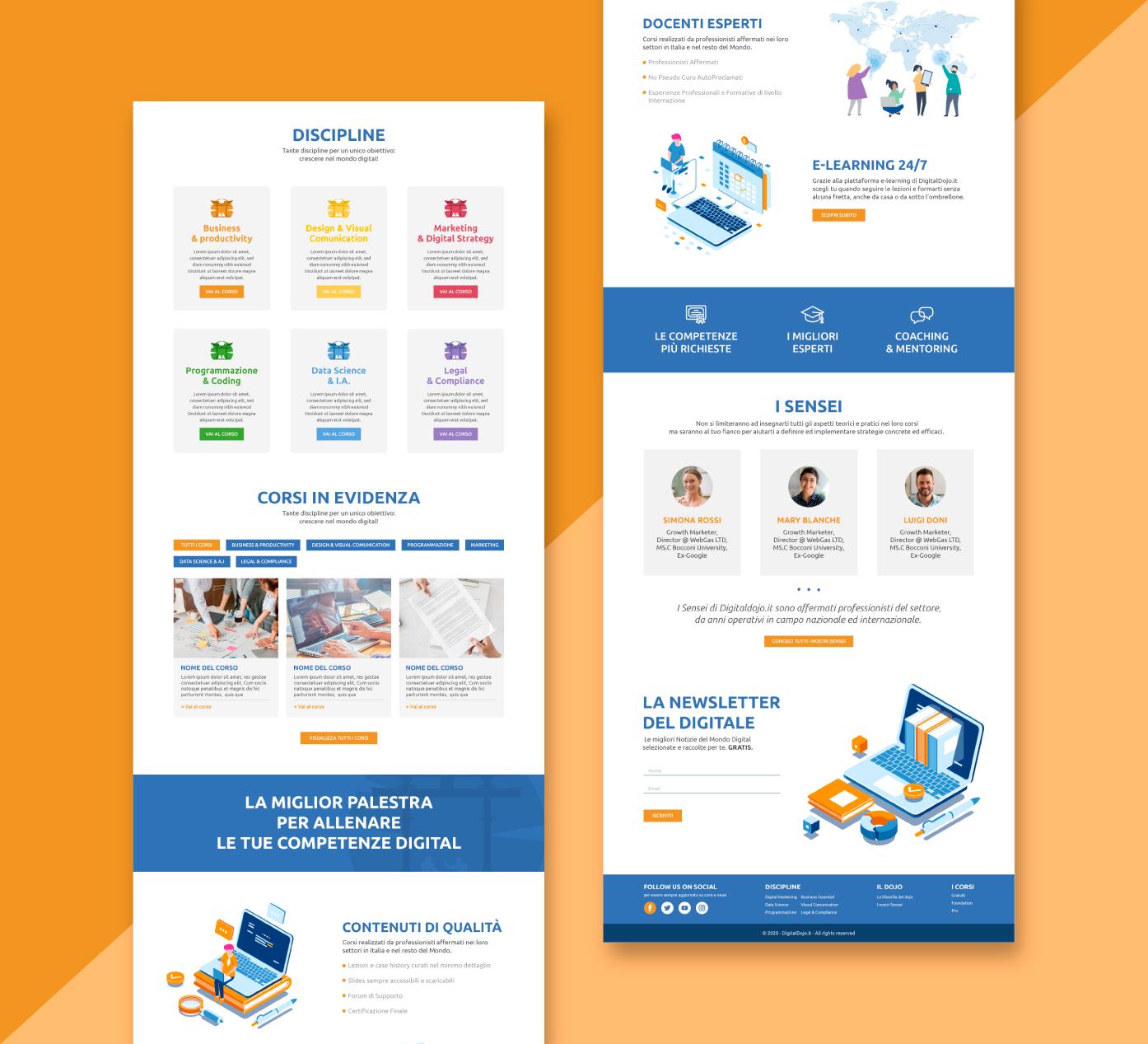 Digital Dojo - Grafica e Web Design UX UI sito - Vista intera homepage