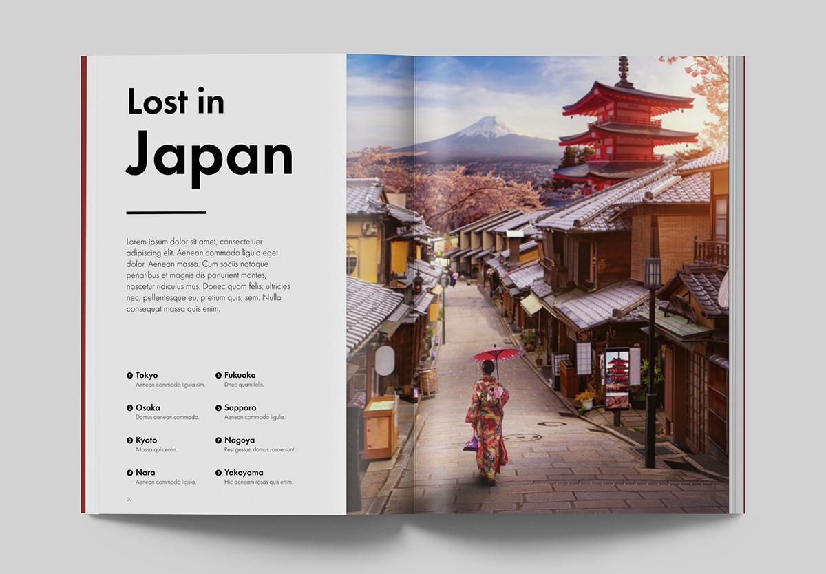 Impaginazione Portfolio - Rivista turismo giapponese - Mockup pagine Lost in Japan