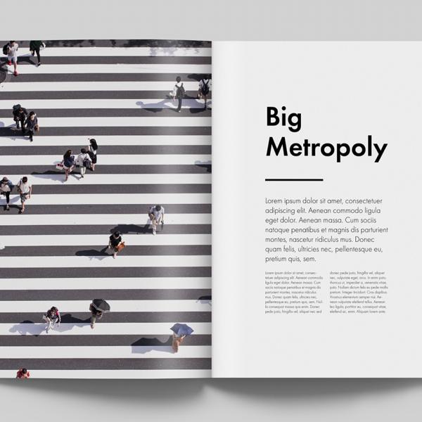 Impaginazione Portfolio - Rivista turismo giapponese - Mockup pagine Big Metropoly