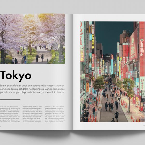 Impaginazione Portfolio - Rivista turismo giapponese - Mockup pagine Tokyo