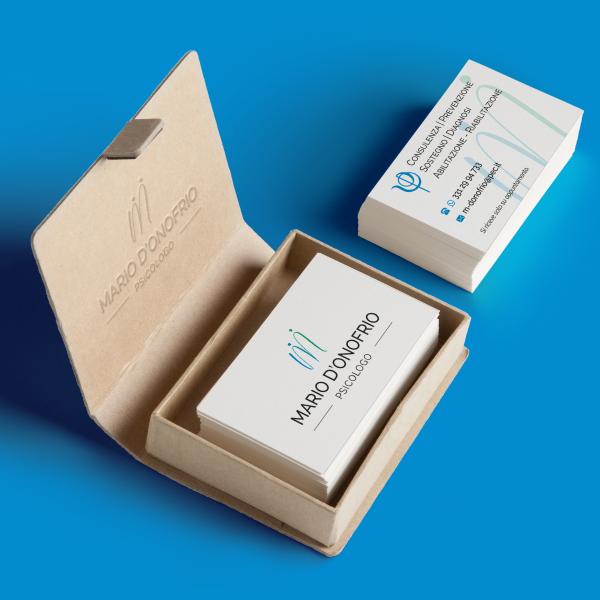 Logo e biglietto da visita psicologo Mario d'Onofrio - Fronte e retro con scatola personalizzata